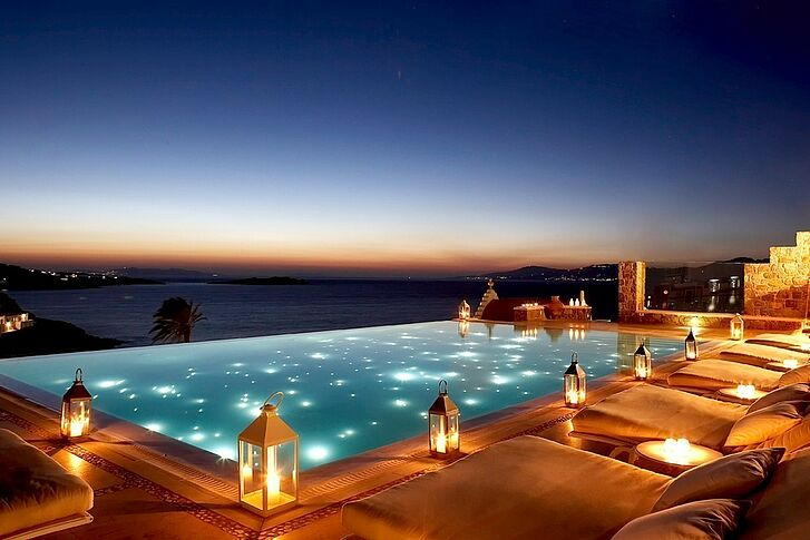 Pool by Night Mykonos Bill & Coo Suites and Lounge