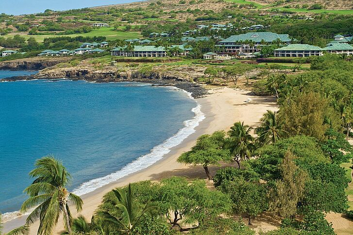Aerial Four Seasons Lana'i at Manele Bay
