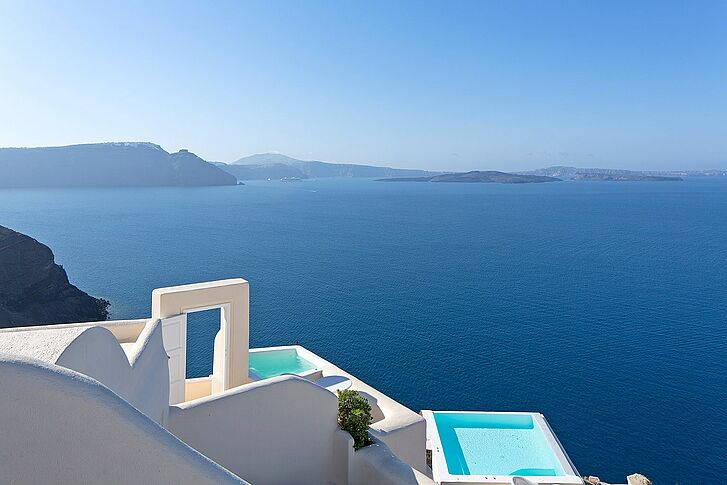 Ausblick Santorin Canaves Oia Suites