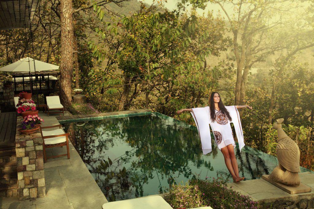 Frau, Pool, Entspannung, Luxus