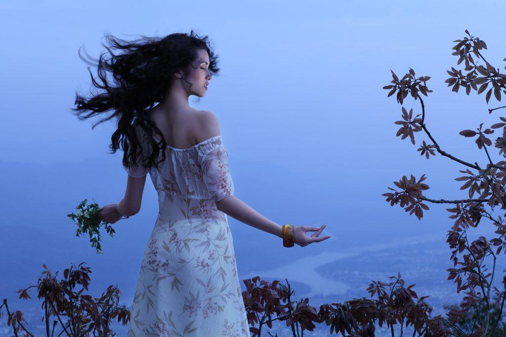 Frau, Kleid, Luft, Entspannt, Ausblick